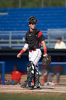 Batavia Muckdogs catcher David Gauntt (7) looks to the bench during the second game of a doubleheader against the Williamsport Crosscutters on August 20, 2017 at Dwyer Stadium in Batavia, New York.  Batavia defeated Williamsport 4-3.  (Mike Janes/Four Seam Images)