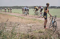 Jelle Goderis (BEL/3M) crashed into a ditch & broke his derailleur off<br /> <br /> 91th Schaal Sels 2016