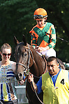 31 May 2010: Check the Label and jockey Ramon Dominguez go to the post for the Sands Point at Belmont Park in Elmont NY.