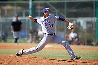 New York University Violets relief pitcher Paul Gadaleta (37) delivers a pitch during a game against the Edgewood Eagles on March 14, 2017 at Terry Park in Fort Myers, Florida.  NYU defeated Edgewood 12-7.  (Mike Janes/Four Seam Images)