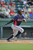 Shortstop Anfernee Seymour (27) of the Rome Braves bats in a game against the Greenville Drive on Tuesday, August 30, 2016, at Fluor Field at the West End in Greenville, South Carolina. Greenville won, 7-3. (Tom Priddy/Four Seam Images)