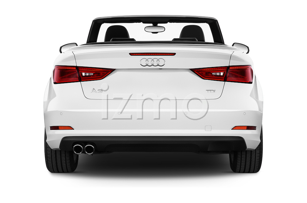 Straight rear view of a 2015 Audi A3 Ambition 2 Door Convertible 2WD Rear View  stock images
