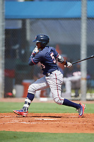 GCL Twins shortstop Agustin Marte (5) follows through on a swing during a game against the GCL Rays on August 9, 2018 at Charlotte Sports Park in Port Charlotte, Florida.  GCL Twins defeated GCL Rays 5-2.  (Mike Janes/Four Seam Images)