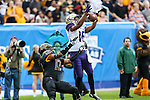 Washington Huskies wide receiver Marvin Hall (16) in action during the Zaxby's Heart of Dallas Bowl game between the Washington Huskies and the Southern Miss Golden Eagles at the Cotton Bowl Stadium in Dallas, Texas.