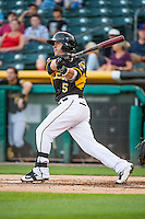 Daniel Robertson (5) of the Salt Lake Bees at bat against the Tacoma Rainiers in Pacific Coast League action at Smith's Ballpark on September 2, 2015 in Salt Lake City, Utah. Tacoma defeated Salt Lake 13-6. (Stephen Smith/Four Seam Images)