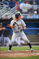West Virginia Black Bears catcher Arden Pabst (52) squares to bunt during a game against the Batavia Muckdogs on June 28, 2016 at Dwyer Stadium in Batavia, New York.  Batavia defeated West Virginia 3-1.  (Mike Janes/Four Seam Images)