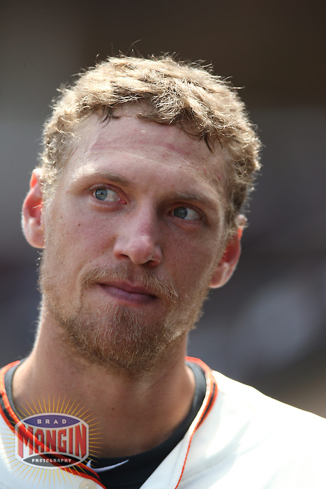 SAN FRANCISCO, CA - MAY 8:  Hunter Pence #8 of the San Francisco Giants stands in the dugout during the game against the Philadelphia Phillies at AT&T Park on Wednesday, May 8, 2013 in San Francisco, California. Photo by Brad Mangin