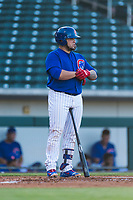 AZL Cubs 1 catcher Alexander Guerra (6) at bat during an Arizona League playoff game against the AZL Rangers at Sloan Park on August 29, 2018 in Mesa, Arizona. The AZL Cubs 1 defeated the AZL Rangers 8-7. (Zachary Lucy/Four Seam Images)