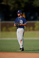 Darell Hernaiz during the WWBA World Championship at the Roger Dean Complex on October 19, 2018 in Jupiter, Florida.  Darell Hernaiz is a shortstop from El Paso, Texas who attends Americas High School and is committed to Texas Tech.  (Mike Janes/Four Seam Images)