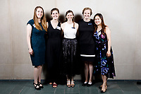 USA International Harp Competition organizers Abigail Brower, left, Carrie Anderson, Erin Brooker-Miller, Melanie Mashner and Cindy Songwon Lee pose at a photo booth during the opening reception and dinner of the 11th USA International Harp Competition at Indiana University in Bloomington, Indiana on Wednesday, July 3, 2019. (Photo by James Brosher)