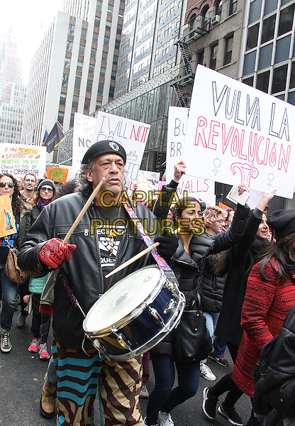 NEW YORK, NY - JANUARY 21:  Participants in the Women's March NYC where they expressed their opposition to the U.S. President Donald J. Trump and his proposed policies  in New York, New York on January 21, 2017.  <br /> CAP/MPI/RMP<br /> ©RMP/MPI/Capital Pictures