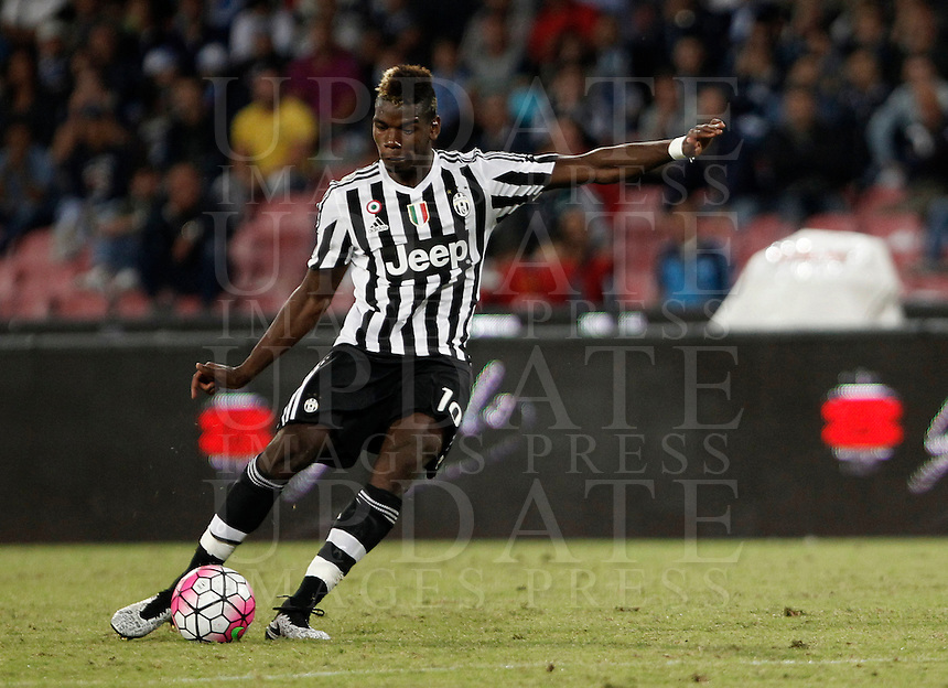 Calcio, Serie A: Napoli vs Juventus. Napoli, stadio San Paolo, 26 settembre 2015. <br /> Juventus' Paul Pogba in action during the Italian Serie A football match between Napoli and Juventus at Naple's San Paolo stadium, 26 September 2015.<br /> UPDATE IMAGES PRESS/Isabella Bonotto<br /> <br /> *** ITALY AND GERMANY OUT ***