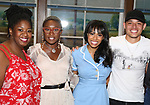 NaTasha Yvette Williams, Cynthia Erivo, Nicolette Robinson and  Anthony Ramos  backstage after Nicolette Robinson makes her Broadway debut in 'Waitress' on September 4, 2081 at the Brooks Atkinson Theatre in New York City.