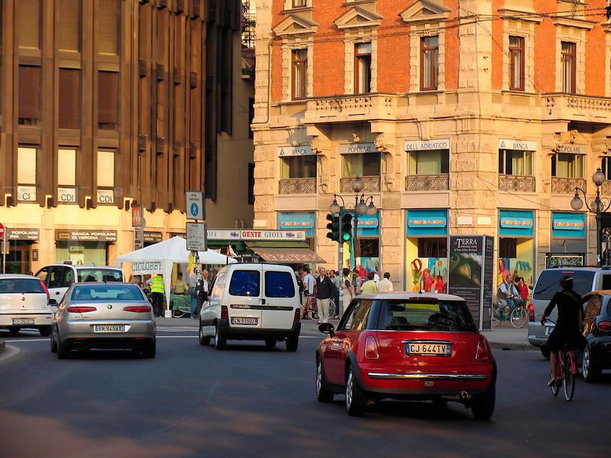 Car and bicycle traffic, Milan, Ital