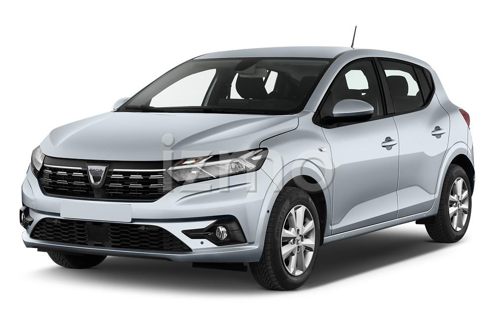 Front three quarter view of a 2021 Dacia Sandero Comfort 5 Door Hatchback