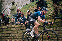 Ian Stannard (GBR/SKY) charging up the infamous Kapelmuur<br /> <br /> 74th Omloop Het Nieuwsblad 2019 <br /> Gent to Ninove (BEL): 200km<br /> <br /> ©kramon