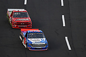 CONCORD, NORTH CAROLINA - MAY 26: Stewart Friesen, driver of the #52 Halmar Int./Thank You Healthcare Workers Toyota, leads Ross Chastain, driver of the #42 Florida Watermelon Association Chevrolet, during the NASCAR Gander Outdoors Trucks Series North Carolina Education Lottery 200 at Charlotte Motor Speedway on May 26, 2020 in Concord, North Carolina. (Photo by Jared C. Tilton/Getty Images)
