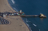 aerial photograph of a busy day at the Santa Monica Pier, Los Angeles County, California