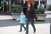 Lima, Peru. Miraflores district, Larcomar Mall.  Mother and daughter together in mall. No MR. ID: AL-peru.