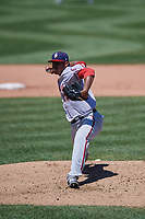 Harrisburg Senators pitcher Steven Fuentes (22) during an Eastern League game against the Erie SeaWolves on June 30, 2019 at UPMC Park in Erie, Pennsylvania.  Erie defeated Harrisburg 4-2.  (Mike Janes/Four Seam Images)