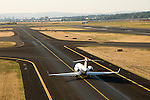 Aerial of an airplane on the runway at the Portland International Airport, Oregon