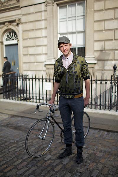 Christopher Raeburn and his bicycle