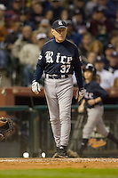 Rice Owls head coach Wayne Graham #37 during game action versus the Texas A&M Aggies in the 2009 Houston College Classic at Minute Maid Park February 28, 2009 in Houston, TX.  The Owls defeated the Aggies 2-0. (Photo by Brian Westerholt / Four Seam Images)