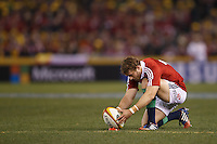 MELBOURNE, 29 JUNE 2013 - Leigh Halfpenny of the Lions prepares to kick a penalty during the Second Test match between the Australian Wallabies and the British & Irish Lions at Etihad Stadium on 29 June 2013 in Melbourne, Australia. (Photo Sydney Low / sydlow.com)