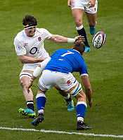 13th February 2021; Twickenham, London, England; International Rugby, Six Nations, England versus Italy; Johan Meyer of Italy passes the ball in front of Johan Meyer of Italy