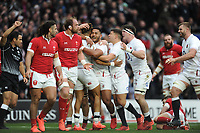 Manu Tuilagi hugs Anthony Watson of England after he scores a try at full stretch during the Guinness Six Nations match between England and Wales at Twickenham Stadium on Saturday 7th March 2020 (Photo by Rob Munro/Stewart Communications)