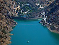 aerial photograph of Monticello Dam, Lake Berryessa, Napa County, California during drought conditions