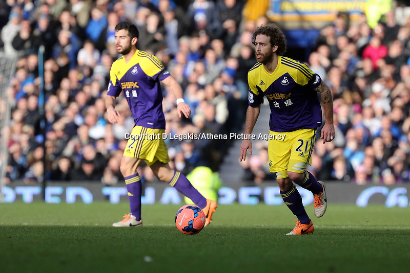 Pictured: Jose Canas of Swansea. Sunday 16 February 2014<br /> Re: FA Cup, Everton v Swansea City FC at Goodison Park, Liverpool, UK.
