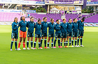 ORLANDO, FL - FEBRUARY 18: Argentina lines up for their national anthem before a game between Argentina and Brazil at Exploria Stadium on February 18, 2021 in Orlando, Florida.