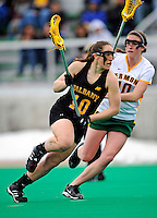 5 April 2008: University at Albany Great Danes' Midfield/Defenseman Nikki Branchini, a Freshman from Guilderland, NY, in action against the University of Vermont Catamounts at Moulton Winder Field, in Burlington, Vermont. With only seconds left in regulation time, the Catamounts rallied to defeat the visiting Danes 11-10 in America East conference play...Mandatory Photo Credit: Ed Wolfstein Photo