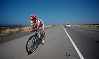 2 time Ironman Hawaii winner Chris 'Macca' McCormack & Bart Aernouts out training together on the Queen K.<br /> Iron Man World Championships 2012.Kona, Hawaii
