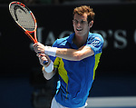 January 24, 2010.Andy Murray of Great Britain, in action, defeating John Isner of the USA, 706, 6-3, 6-2 in the fourth round of The Australian Open, Melbourne Park, Melbourne, Australia.