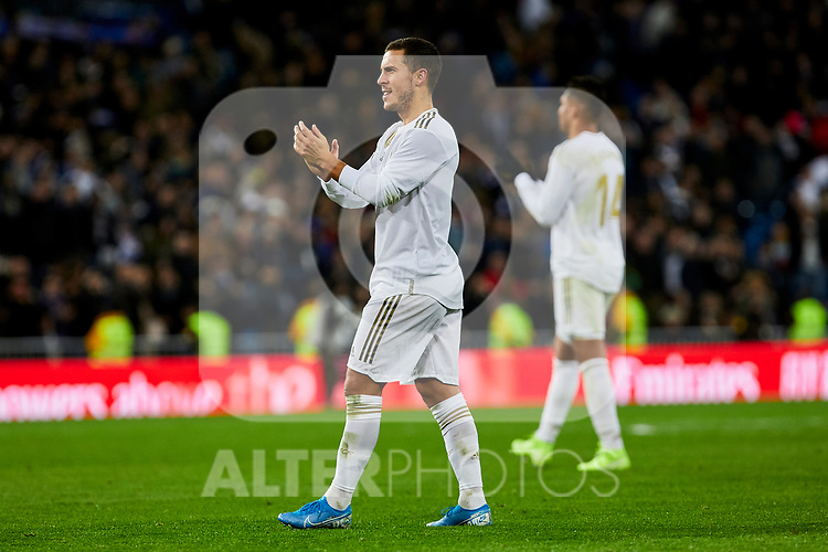 Eden Hazard of Real Madrid celebrate the victory after La Liga match between Real Madrid and Real Sociedad at Santiago Bernabeu Stadium in Madrid, Spain. November 23, 2019. (ALTERPHOTOS/A. Perez Meca)