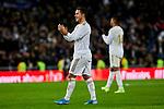 Eden Hazard of Real Madrid celebrate the victory after La Liga match between Real Madrid and Real Sociedad at Santiago Bernabeu Stadium in Madrid, Spain. November 23, 2019. (ALTERPHOTOS/A. Perez Meca)