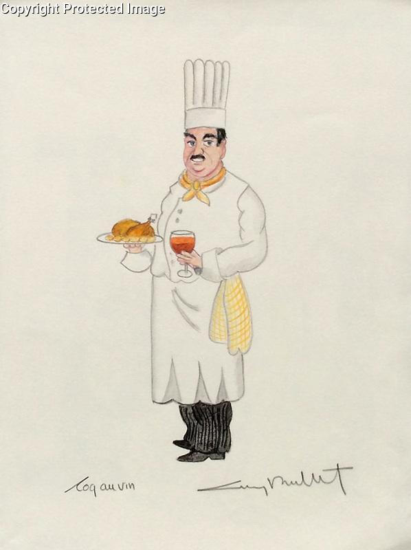 """""""Coq au Vin""""<br /> 11x14  ORIGINAL Watercolor on Paper<br /> $1,750"""