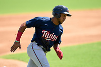 FCL Twins Emmanuel Rodriguez (4) running the bases during a game against the FCL Red Sox on August 7, 2021 at JetBlue Park at Fenway South in Fort Myers, Florida.  (Mike Janes/Four Seam Images)