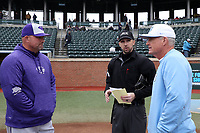 CHAPEL HILL, NC - FEBRUARY 19: Head coach Craig Cozart #38 of High Point University, home plate umpire Thomas Newsom, and head coach Mike Fox #30 of the University of North Carolina meet at home plate during a game between High Point and North Carolina at Boshamer Stadium on February 19, 2020 in Chapel Hill, North Carolina.
