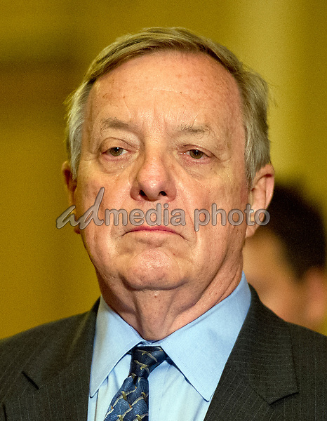 United States Senate Minority Whip Dick Durbin (Democrat of Illinois) speaks to reporters following the Democratic Party luncheon in the United States Capitol in Washington, DC on Tuesday, June 27, 2017. Photo Credit: Ron Sachs/CNP/AdMedia