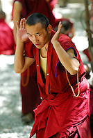 Gelugpa monk, with mala beads, debates Buddhist philosophy in the courtyard at Sera monastery, Lhasa, Tibet, China.