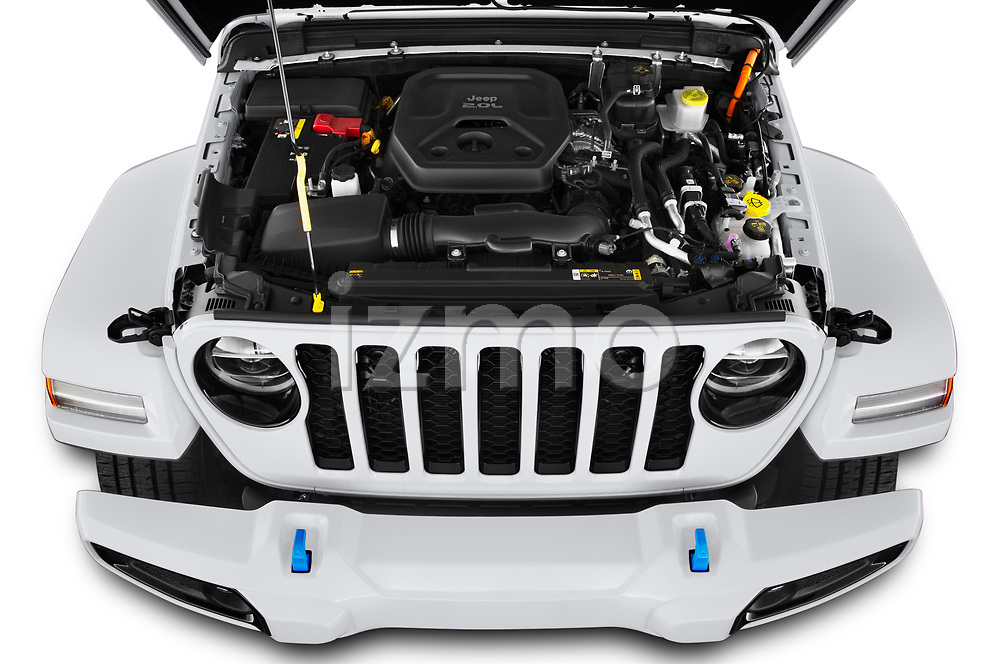 Car Stock 2021 JEEP Wrangler-Unlimited High-Altitude-4XE 5 Door SUV Engine  high angle detail view