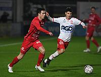 FC GULLEGEM - KV KORTRIJK :<br /> vriendschappelijke wedstrijd<br /> Jarne Jodts (L) en Tsotne Bendiashvili (R)<br /> <br /> Foto VDB / Bart Vandenbroucke