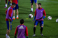 Spainsh Alvaro Morata and Nacho fernandez during the training of the spanish national football team in the city of football of Las Rozas in Madrid, Spain. November 08, 2016. (ALTERPHOTOS/Rodrigo Jimenez) ///NORTEPHOTO.COM