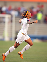 .09 April 2008:  Action photo of Natasha Kai of United States celebrating goal against Costa Rica, during game of the Womens Preolympic soccer tournament held at Ciudad Juarez. Mexico.