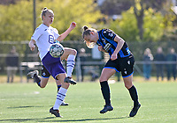 Sarah Wijnants (11) of Anderlecht pictured defending on Elle Decorte (7) of Club Brugge during a female soccer game between Club Brugge Dames YLA and RSC Anderlecht on the fourth matchday in Play-Off 1 of the 2020 - 2021 season of Belgian Scooore Womens Super League , saturday 1st May 2021  in Brugge , Belgium . PHOTO SPORTPIX.BE | SPP | DAVID CATRY
