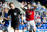 St Johnstone v Aberdeen....18.08.12   SPL.Ryan Jack holds his head as ref John Beaton ignores heir penalty claims for a hand ball.Picture by Graeme Hart..Copyright Perthshire Picture Agency.Tel: 01738 623350  Mobile: 07990 594431