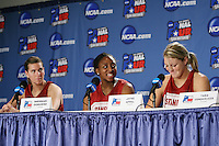 SAN ANTONIO, TX - APRIL 3: Jeanette Pohlen, Nnemkadi Ogwumike and Jayne Appel during a Final Four press conference at the Alamo Dome on April 3, 2010 in San Antonio, Texas.